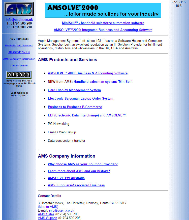 2000 Aspin homepage