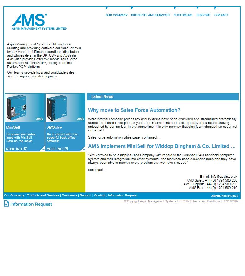 2002 Aspin homepage