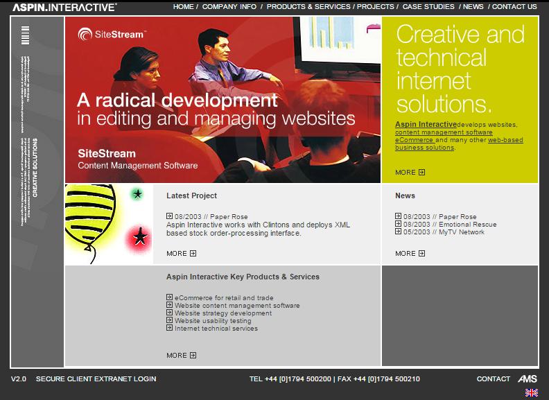2003 Aspin Interactive homepage