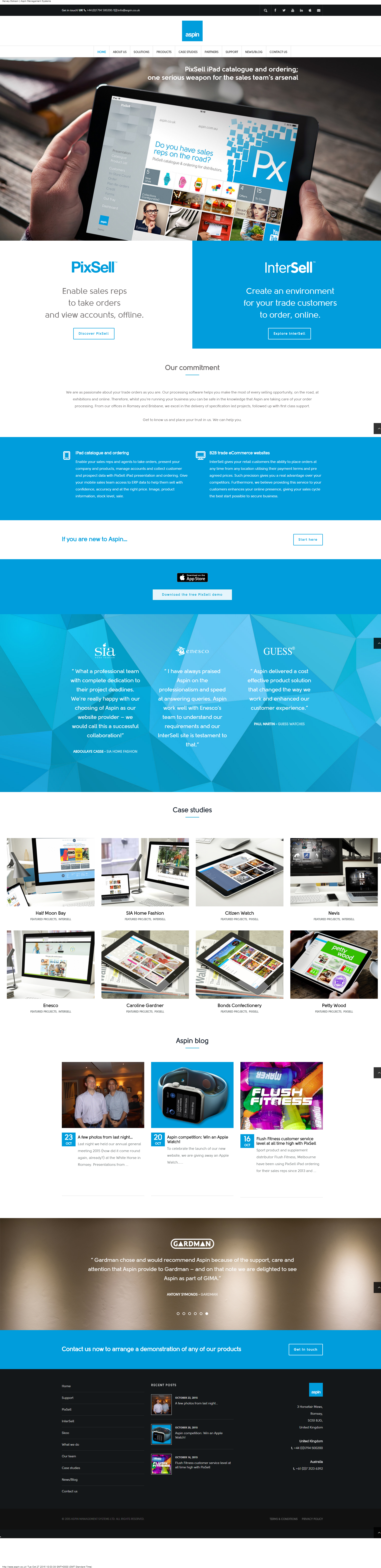 2015 Aspin homepage