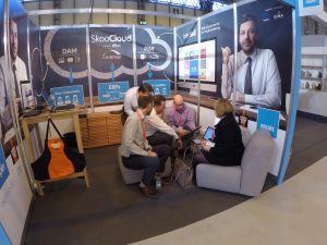 Busy talking PixSell on the stand