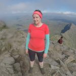 Exhausted Lizzi at Snowdon summit
