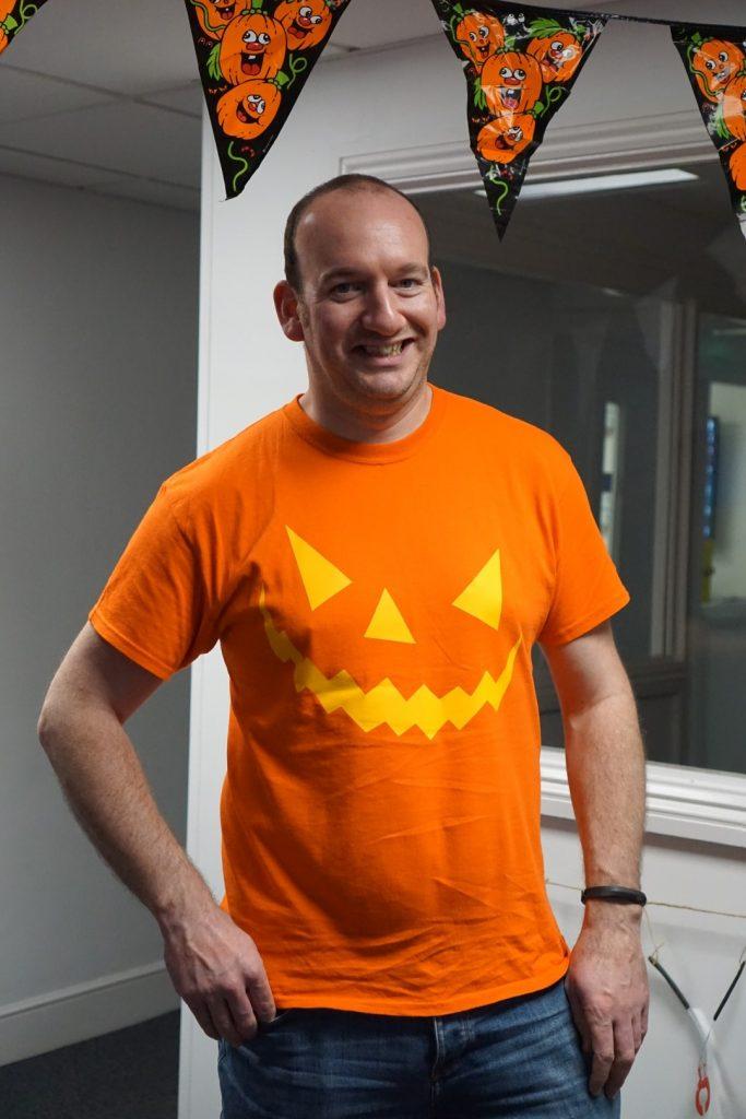 Richard's trusty pumpkin teeshirt